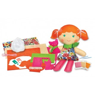 Costure uma boneca menina e gatinho, Kit brinquedo Educativo, Agulha Plástica Bordar 8+