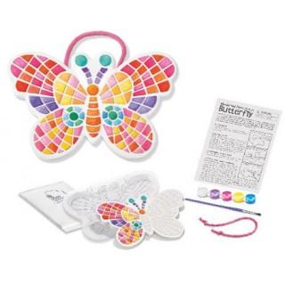 Plaquinha Mosaico Borboleta, Brinquedo Artesanal Decorativo, Molde e Pinte: gesso e tinta