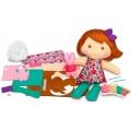 Costure a boneca menina e seu coelhinho, Kit brinquedo Educativo, Agulha Plástica Bordar 8+