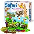 Origami Safári, Dobradura, Kit Educativo 30 folhas estampadas, 8 animais e um cenário