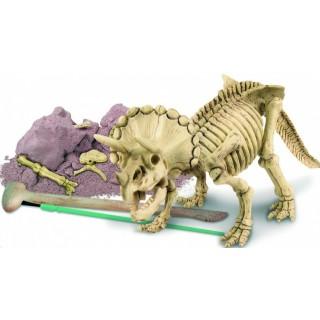 Tricerátopo, Brinquedo Educativo, Kit de Paleontologia, Escavação de fósseis e Esqueleto, 7+