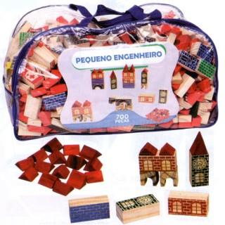 Pequeno Engenheiro, Super Kit Educativo construções em Madeira, mais de 8KG, 700 peças