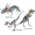 Dinossauros 3x p/ montar, Quebra-Cabeça 3D, Tiranossauro, Velociraptor, Estiracossauro