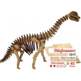 Dinossauro Braquiossauro p/ montar, Quebra-Cabeça 3D, 52 peças, Brinquedo e decoração MDF