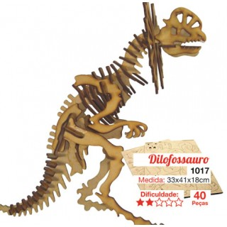 Dinossauro Dilofossauro p/ montar, Quebra-Cabeça 3D, 40 peças, Brinquedo e decoração MDF