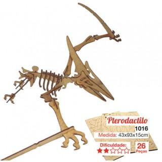 Dinossauro Pterodáctilo p/ montar, Quebra-Cabeça 3D, 26 peças, Brinquedo e decoração MDF