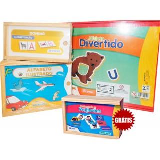 Kit Escolar Linguagem, Alfabetização, Letras, Educativo Combo 3 jogos, 4 a 6A + BRINDE