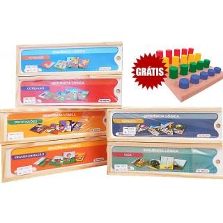 Kit Escolar Sequência lógica, Memória, Linguagem, Cognição Combo 6 jogos, 4 a 8+