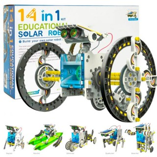 Robô 14 em 1, Kit Robótica Iniciantes Motor Energia Solar, Brinquedo Educativo Sustentável