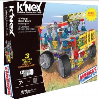 K'NEX 313 peças, Kit Robótica Motorizado Caminhões, 3 projetos p/ montar com farol