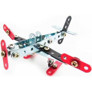 Avião Brinquedo Metálico 2x1, Kit Robótica estrutural p/ Iniciantes, 77 pçs, Montagem parafusos