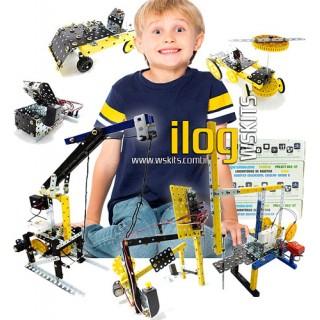 iLOG Modelix Mini Curso Kit Robótica 6 em 1 c/ Sensor de Luz, Motor, Interruptor, Alarme