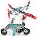Moto & Avião, 2 Kits Robótica estrutural Metálicos p/ Iniciantes, Montagem parafusos e porcas