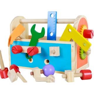 Caixa Ferramentas Brinquedo Madeira c/ Parafuso, Porca, Chave Fenda Boca, Martelo +d15pçs