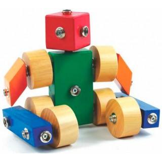 Robô, Carrinho e outras Montagens de Madeira Encaixe por pressão 12 pçs, 3 anos ou + Mod01