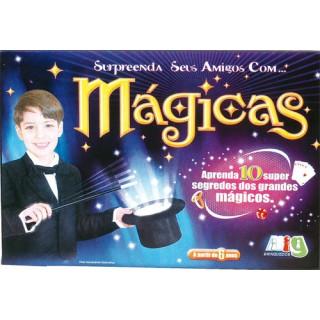 Kit 10 Mágicas, Truques c/ Cartas, Cubos, Corrente, Palito, Telepatia e ilusão de ótica 6+