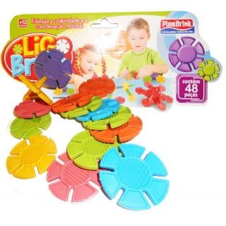 Encaixes Arredondados Kit Educativo Montagem diferente 48 pçs coloridas, a partir de 1 ano