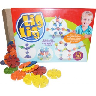 Encaixes Arredondados Kit Educativo Montagem diferente 48 peças coloridas, 3+