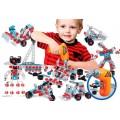 Kit Robótica Kids 3 anos+ c/ 280pçs Parafusadeira Montagem Robôs, Veículos, Guindaste,etc