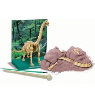 Braquiossauro, Brinquedo Educativo, Kit de Paleontologia, Escavação de fósseis, 7+