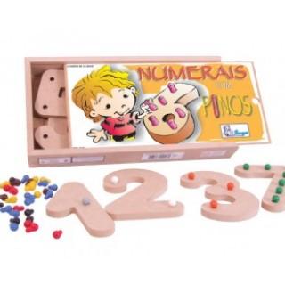 Numerais com pinos, 10 peças, Jogo da memoria, brinquedos educativos, Mdf, 5+