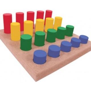 Pinos coloridos, 21 peças, Jogo da memoria, brinquedos educativos, Mdf, 3+