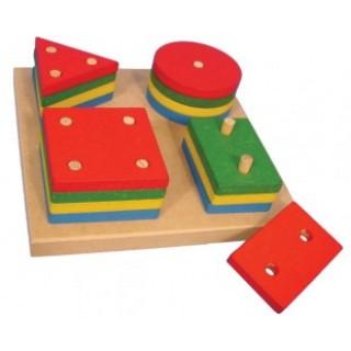Seleção de Formas e Cores, 17 peças, Geometria, Encaixes, brinquedo educativo, Mdf, 5+