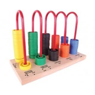 Ábaco fechado Braille, 1 peças, Jogo da memoria, brinquedos educativos, inclusão, Mdf, 5+