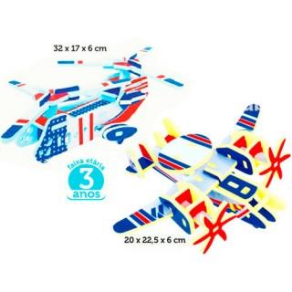 Helicoptero 33pçs + Avião 25pçs, Quebra-cabeça 3D em EVA, Kit Militar c/ 2 Brinquedos, 3+